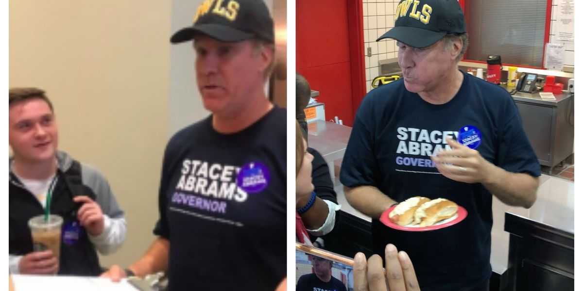 Will Ferrell visits Kennesaw State to recruit Stacey Abrams campaigners