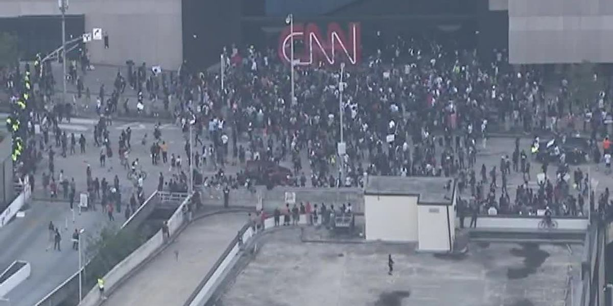 Protesters at CNN Center in Atlanta