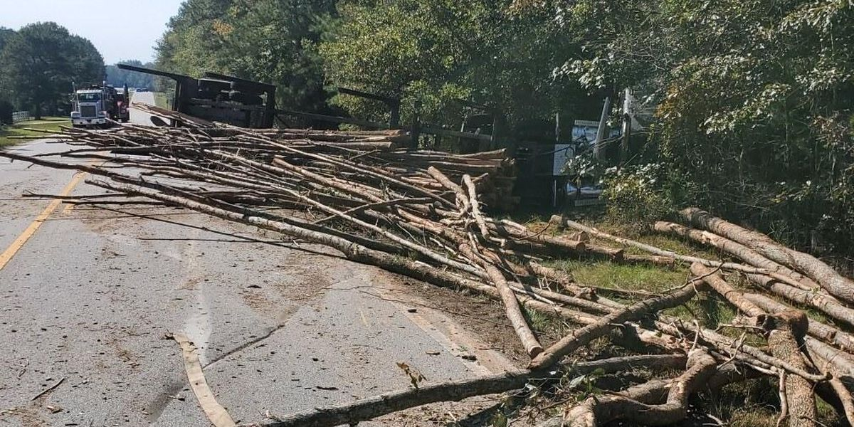 Overturned log truck on Hwy. 169 in Salem leaves road blocked