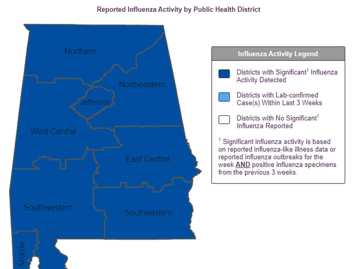 Flu 'widespread' in Alabama, according to CDC