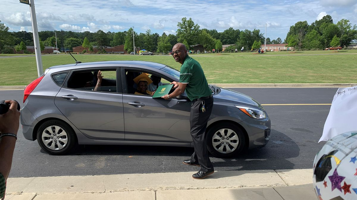 Spencer High School in Columbus celebrates seniors with drive-thru graduation