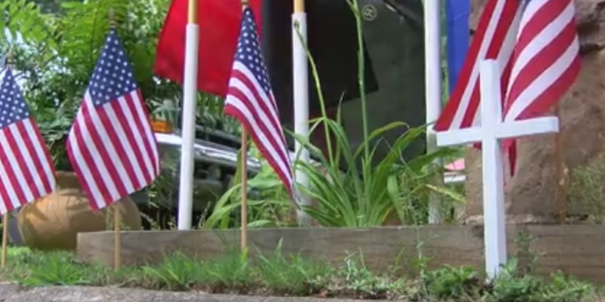 Family set up Memorial Day monument in their yard to honor those who serve