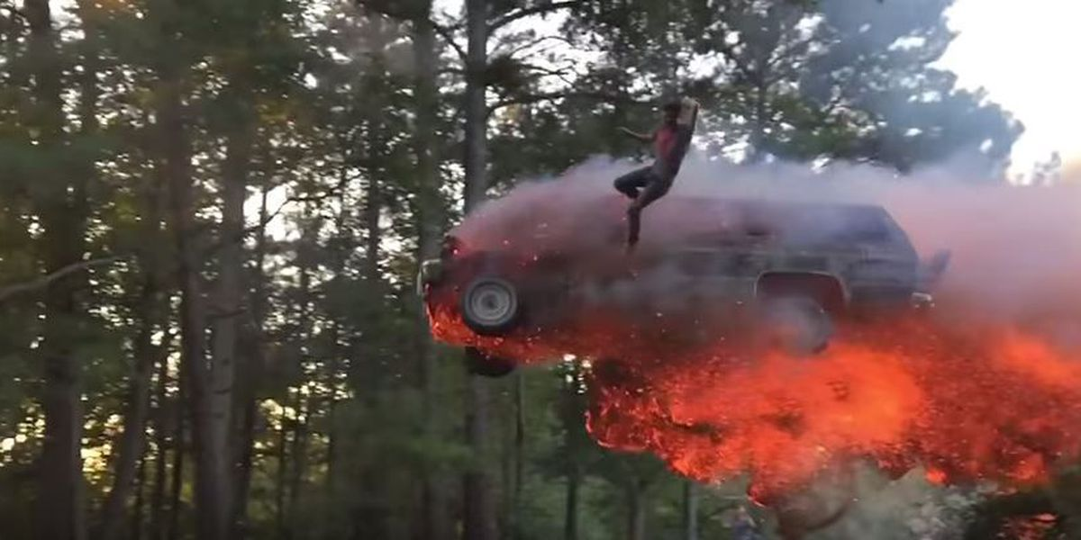 WATCH: AL man jumps with flaming SUV into lake