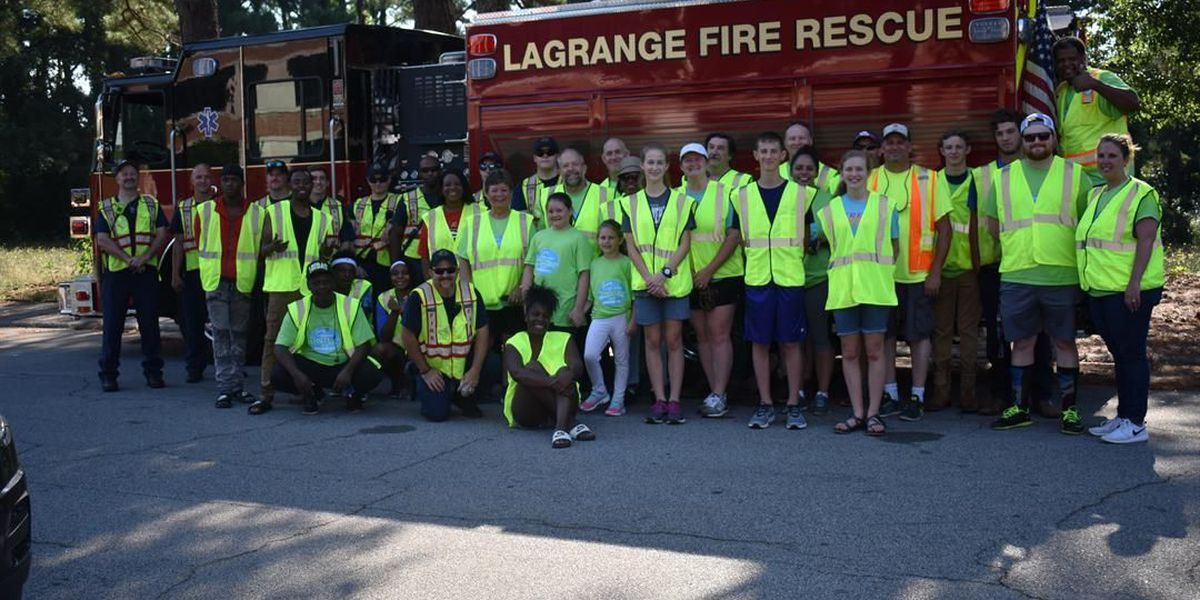 Several City of LaGrange employees and community members join litter cleanup event