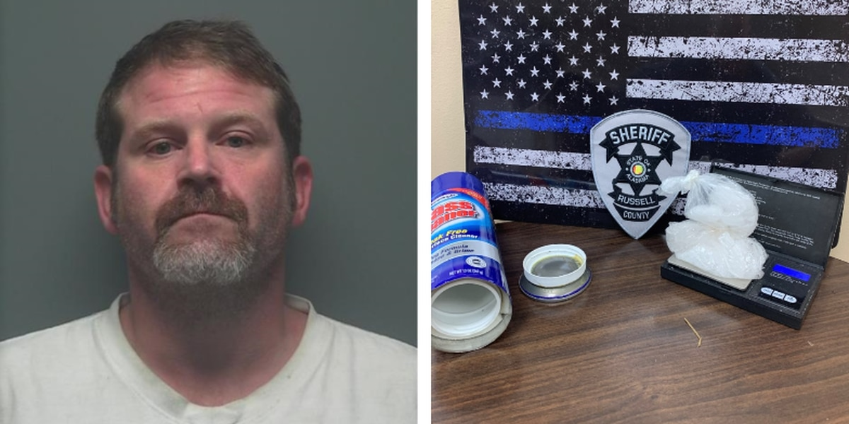Russell Co. man arrested after allegedly hiding meth in glass cleaner can