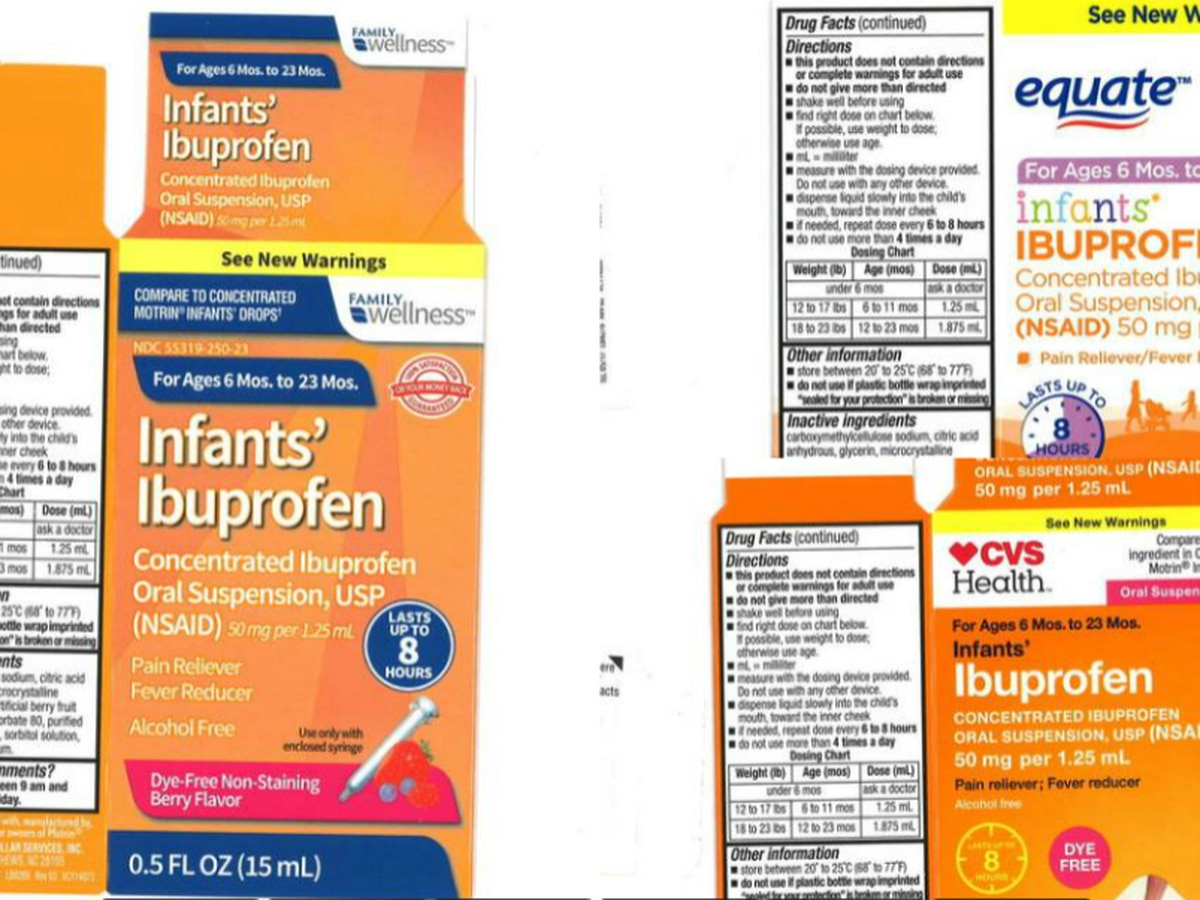 UPDATE: Infant ibuprofen recall expands to include three additional lots