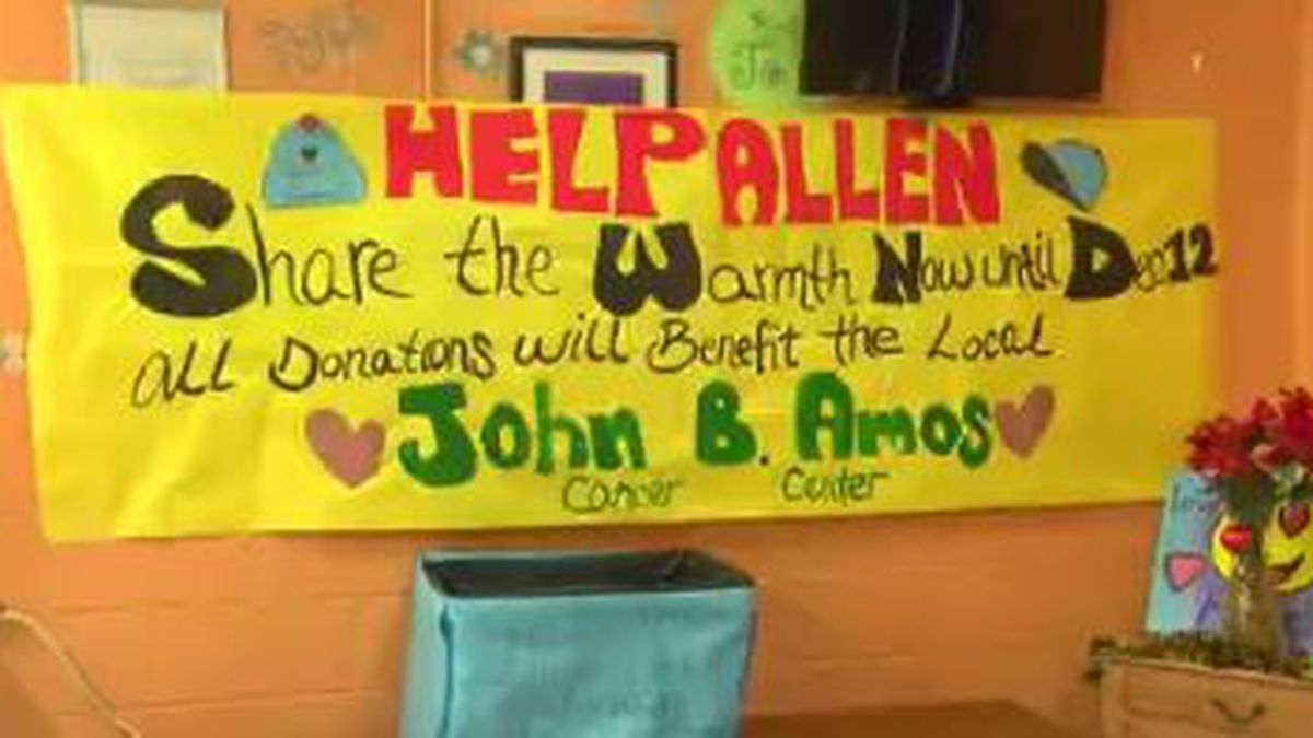 Allen Elementary School in Columbus collecting hats, gloves, scarves for cancer patients