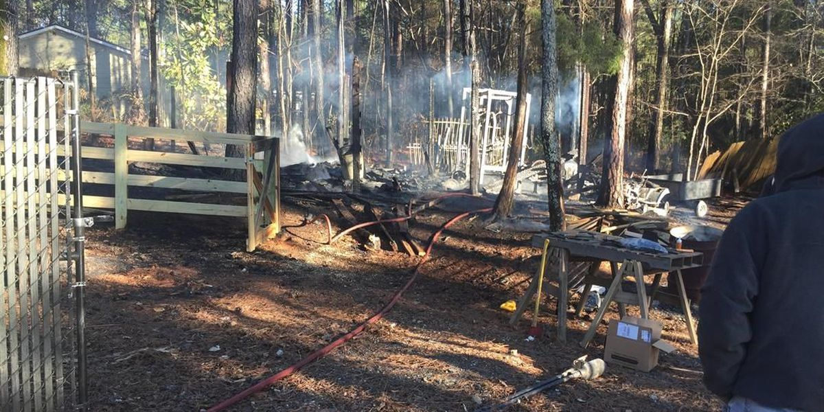 Shed catches fire in Columbus on Almond Rd.