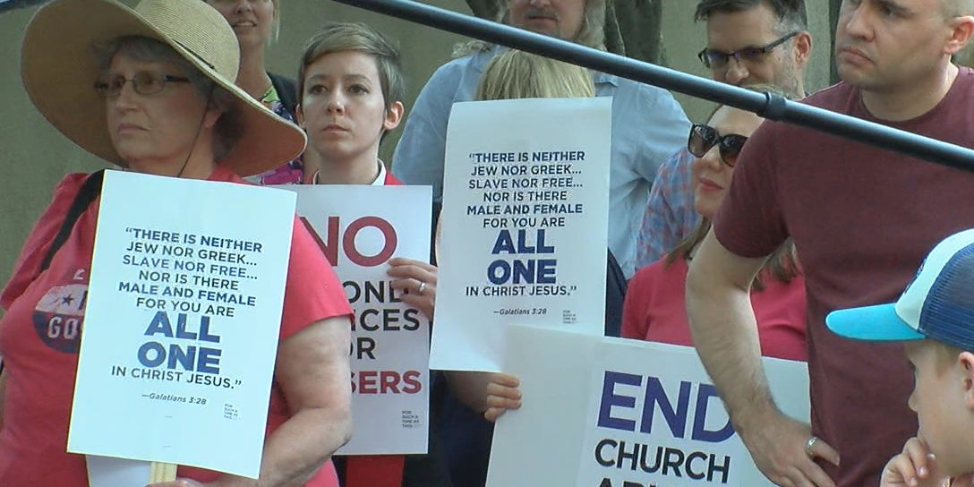 Protesters gather outside Southern Baptist Convention