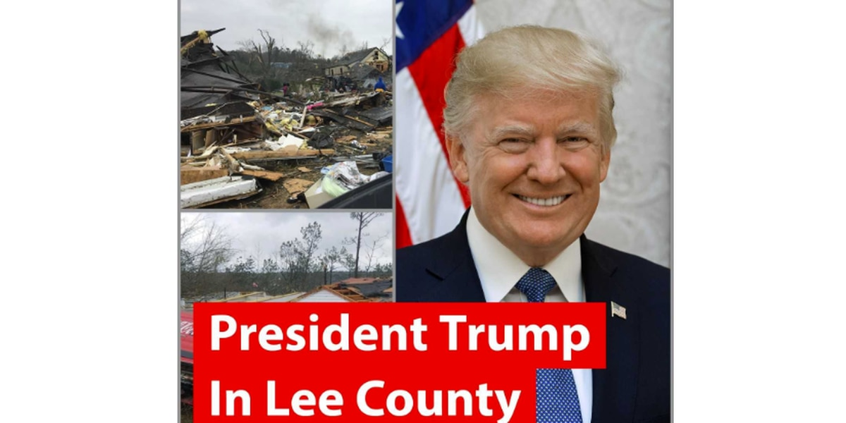 WATCH: President Trump visits Lee County, tours tornado damage