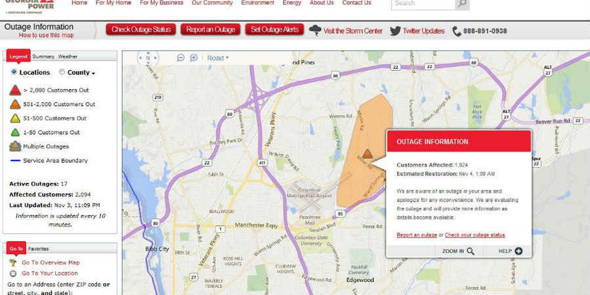 More than 1,900 Columbus residents without power Tuesday night