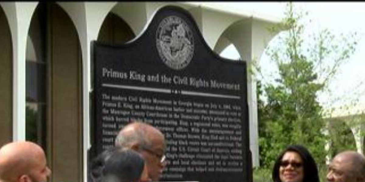 Historical marker dedicated to civil rights figure in Columbus
